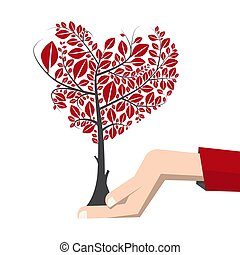 Tree in Human Hand - Vector Earth Day Symbol