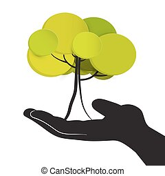Tree in Human Hand.Vector Illustration Isolated on White Background.