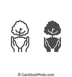 Tree in open hands with handful of soil line and solid icon, ecological concept, caring for nature hands sign on white background, Hands holding young tree icon in outline style. Vector graphics.