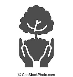 Tree in open hands with handful of soil solid icon, ecological concept, caring for nature hands sign on white background, Hands holding young tree icon in glyph style. Vector graphics.