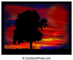 Tree in the evening. - Tree in the evening - abstract image....