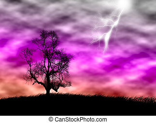 Tree in the storm - Tree silhouette on the field against a...