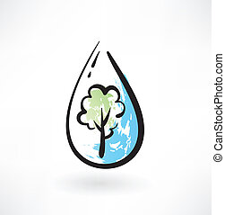 tree in the water drop grunge icon