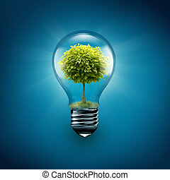 tree inside light bulb