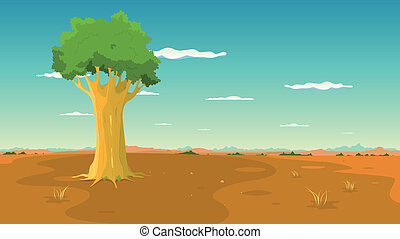 Illustration of a cartoon wide desert landscape with a single tree