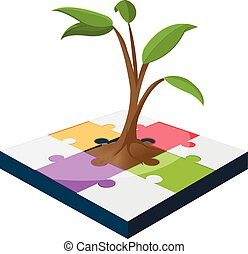 Tree Jigsaw Business Color Growth