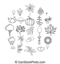 Tree leaf icons set, outline style