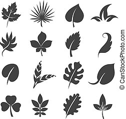Tree leaf silhouettes. Leaves vector illustration isolated on white background