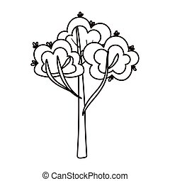tree leaves botanical cartoon isolated icon line style