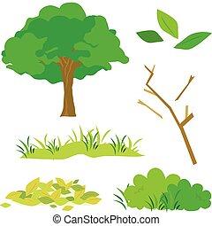 Tree Leaves Grass Bush Branch Flora Cartoon Vector