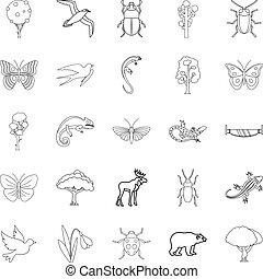 Tree like icons set, outline style