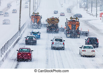 Tree Lined-up Snowplows Clearing the Highway - Tree Lined-up...