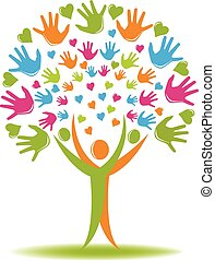 Tree logo hands and hearts figures - Tree with hands and ...