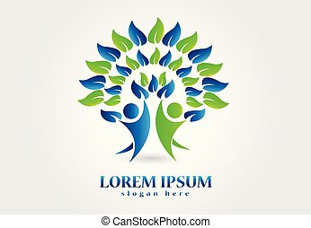 Tree logo nature healthy people symbol vector image design