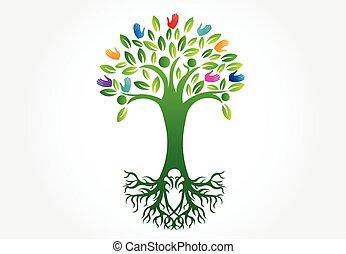Tree logo symbol of life vector