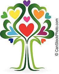 Tree love heart family concept logo