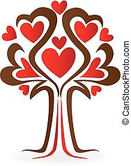 Tree love heart shape family concept logo
