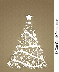 tree made of snowflakes on a sketch background
