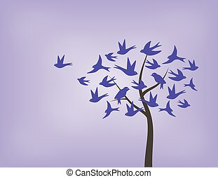 Tree made of swallow birds in shades of purple