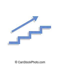 tree, met, arrow., vector., neon, blauwe , pictogram, met, cyclaam, polka punt