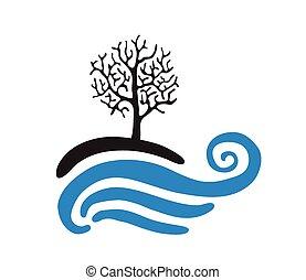 Tree near the water, vector logo