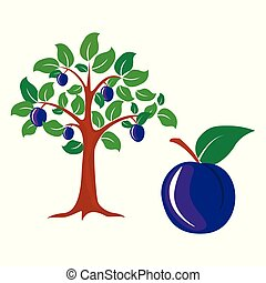 Tree of a plum. Vector design, background, symbol, abstract, icon,