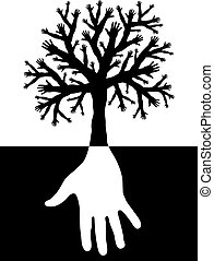 Tree of hands - Editable vector design of a tree with...