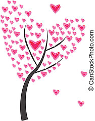 Tree of heart of frame on white background