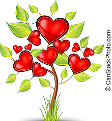Green tree of red hearts, beautiful valentine vector illustration