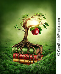 Tree of knowledge and forbidden fruit growing out of book