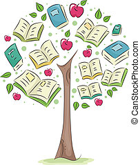 Tree of Knowledge - Illustration of a Tree with Books for...