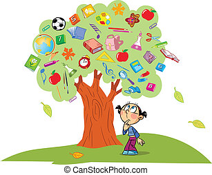 The illustration shows the tree. Instead of leaves shows the attributes and items for school. Under the tree is a child lost in thought. Illustration done in cartoon style, on separate layers.