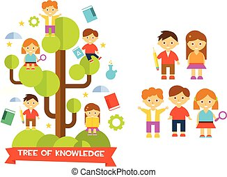 Tree of knowledge with boys ad girls, education concept vector illustration
