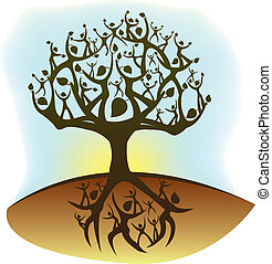 tree of life - illustration of a tree created from humanoid...