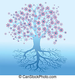 Tree of life soft purple pink and blue