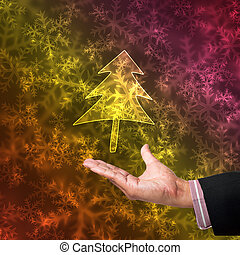 Tree of light with hand on abstract background