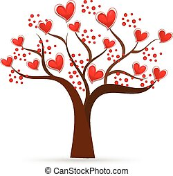 Tree of love Valentines hearts logo
