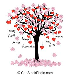 tree of love with blossoms and words