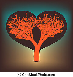 Tree of love with hearts. EPS 8