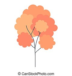tree of orange color, on white background