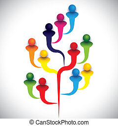 tree of related people or group of diverse employees or kids & students. The vector graphic represents the structure of a company with people, relationship between close circle of family members