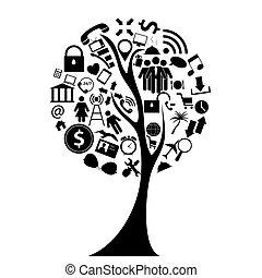 Tree of Social Media Concept Vector Illustration.