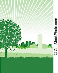 tree on a cityscape - a tree on a green cityscape