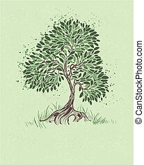 tree on a green background