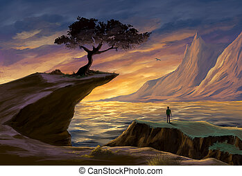 Tree on a sea cliff at sunset