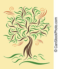 Tree on a Windy Day - A stylized tree on a breezy day.