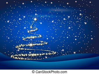 tree on Christmas night background