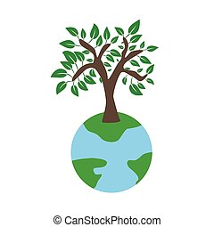 Tree on earth ecology concept