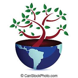 Tree on Earth globe