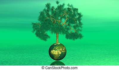 Tree on earth in green background
